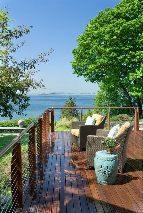 Ipe Wood Deck And Cable Railing Idea Deck Railing Ideas