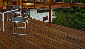 Deck Railing Idea with Forest Background