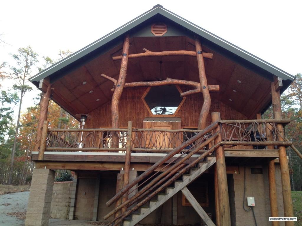 Log Railing House