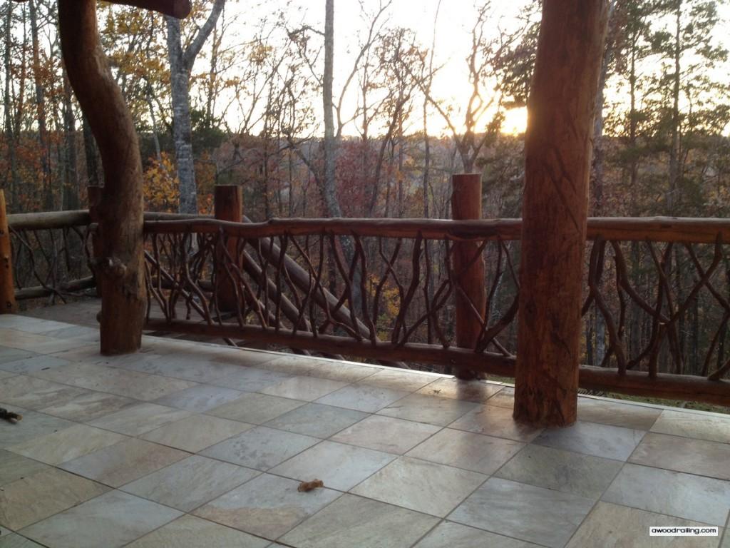 Log Railing Sunset