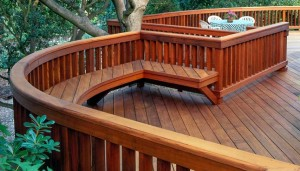 JG Los Gatos Curved Redwood Deck Railing