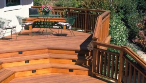 JG Novato Multi Level Redwood Deck Railing