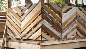 Alternating Diagonal Rustic Board Railing