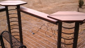 Cable Railing with Formed Corners Different Height Wood Cap