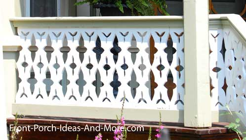 Gray Front Porch Sawn Balusters Deck Railing Ideas