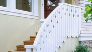 Jigsaw Baluster Railing on Side of Stringer