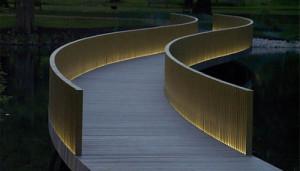 Lighted Individual Slat Bridge Railing