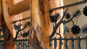 Log Post Top Rail With Metal Vertical Branches Pine Cones