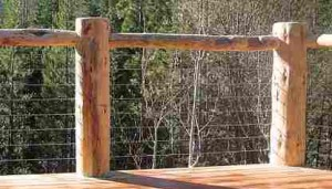 Log Railing with Chicken Wire