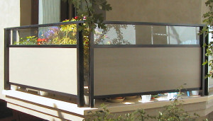 Metal Frame Railing with Glass Above Hardie Panel