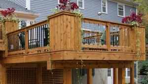 Mixed Metal Glass Builtup Wood Corner Post Railing