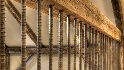 Vertical Rebar Baluster Rustic Wood Beam Railing Deck