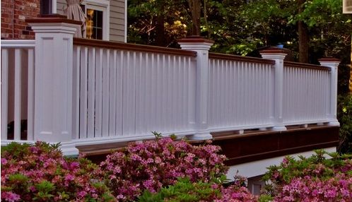 Colonial Style Idea Painted White Wood Railing
