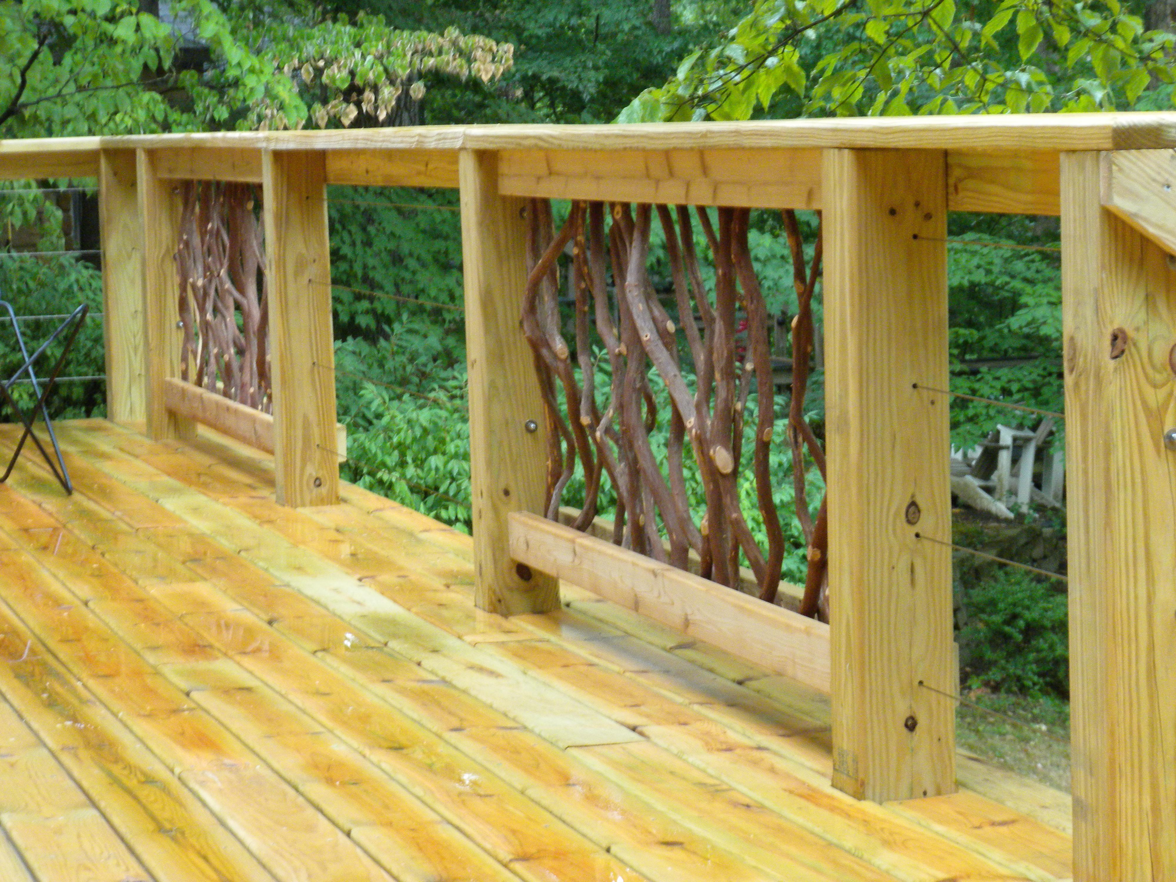 Cable Railing and Branch Handrail Idea | Deck Railing Ideas